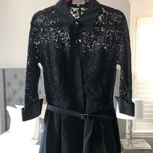 Teri-Jon black lace and taffeta midi dress